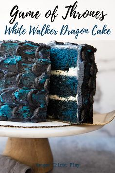 The ultimate Game of Thrones recipe for your new season GoT party! This White Walker Dragon Cake is a layers of blue velvet and american buttercream for a delicious and fun game of thrones party dessert! Game Of Thrones Kuchen, Game Of Thrones Food, Game Of Thrones Party, Game Of Thrones Birthday Cake, Dessert Party, Party Desserts, Blue Velvet Cakes, Bolo Red Velvet, Cupcake Recipes
