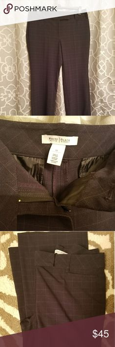 WHBM Plaid Design Black Dress Pants WHBM Plaid Design Black Dress Pants. Like New Condition. No marks or stains. White House Black Market Pants Boot Cut & Flare