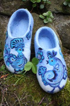 Felted Slippers Blue Birds by IrinaU on Etsy, $101.00