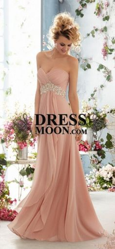 2015 prom dress strapless coral chiffon beadings for teens, ball gown, evening dress #promdress
