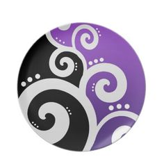 Use the Masking Technique to create this Funky Swirls Purple Plate!