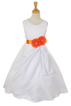 Girls Long White Dresses with Orange Flower and Sash