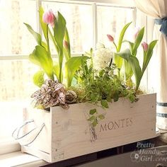 whitwashed wine crate window box with handles
