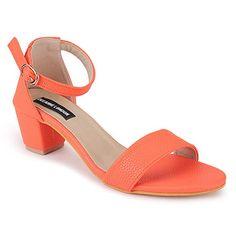 DEEANNE LONDON Women's Single Strap Block Heels (36, Orange-Leather) Cheap Sandals, Flat Sandals, Flats, Ladies Of London, Fashion Sandals, Orange Leather, Block Heels, Heeled Mules, Footwear