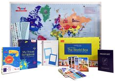 World Box It's the perfect gift for all kids! Inspire them to learn about the world.  Includes an Interactive World Map Kit with stickers, Travel Scrapbook, a play passport with immigration stamp and country trump cards