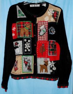 UGLY CHRISTMAS SWEATER by OHI -Black Patchwork Look w/Plaid Trim Size M Medium