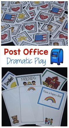 Turn your dramatic play center into a post-office with printable stamps, stationery, labels and more!