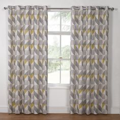 Delta Grey & Yellow Luxury Lined Eyelet Curtains (Pair) - Julian Charles Grey Curtains Bedroom, Silver Curtains, Kitchen Window Curtains, Modern Curtains, Rustic Curtains, Yellow And Grey Curtains, White Curtains, Grey Yellow, Ottoman Furniture