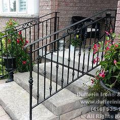 Exterior Railings – Dufferin Iron & Railings Exterior Stair Railing, Outdoor Stair Railing, Patio Stairs, Wrought Iron Stair Railing, Balcony Railing, Iron Railings, House Stairs, Railing Design, Fence Design