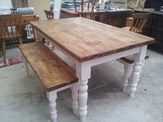 Stunning hand crafted farmhouse table and 2 benches. Painted in Middleton Pink by Farrow and Ball by Farmhouse Vintage