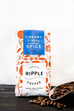 Ripple Coffee Roasters Whole Coffee Bean Package Design and Brand Identity for Women Roasters and Women Farmers Coffee Bags