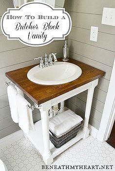 how to build a butcher block vanity, bathroom ideas, diy, home decor, how to