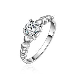 Silver Plated Heart White Cubic Zirconia Ring Various  Size