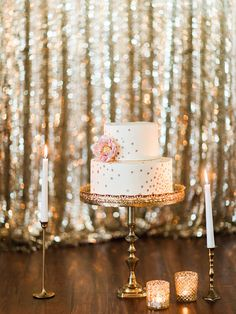 Sequin Wedding Cake Backdrop | Megan Robinson Photography | Sparkling Blush, Champagne, and Gold Retro Meets Modern Wedding Inspiration for New Years!