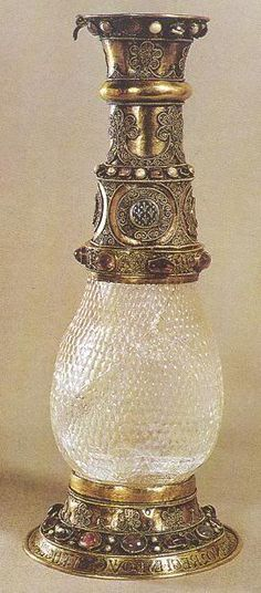 Eleanor of Aquitaine rock crystal vase. Eleanor gave the vase to her first husband Louis VII of France as a wedding gift. He in turn donated it to the Abbey of Saint-Denis.