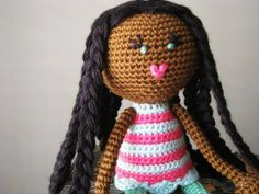 Crochet African American Plush Doll Black Braids Green Pink Purple Flower Stuffed Toy Baby Girl Gift, MADE TO ORDER (other colors available)
