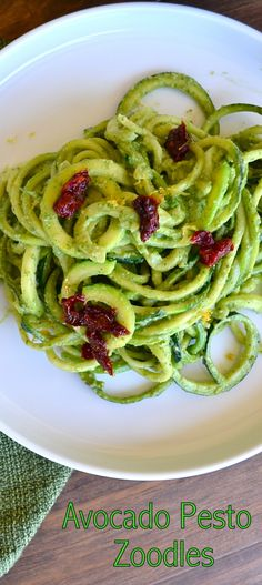 Avocado Pesto Zoodles, so simple to make and so healthy! Low carb... if you're into that!