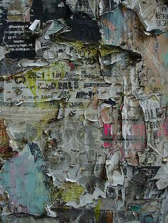 The texture of the peeling poster wall gives us the idea it has been there for a long time untouched. Time has passed, it is derelict and lonely. Et Wallpaper, Peeling Wallpaper, Art Grunge, Decay Art, Graffiti, Growth And Decay, Peeling Paint, A Level Art, Wow Art