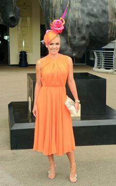 Philip Treacy - OC742 - Opera singer Katherine Jenkins chose a totally plain orange dress, all the better to show off her beautiful sculptural orange and pink hat...