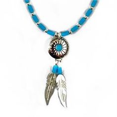 A natural turquoise and silver Native American pendant necklace from Brave Design £ 21.00 available at http://www.melburygallery.co.uk/shop/necklaces/brave-turquoise--silver-circular-bead--feather-necklace.htm