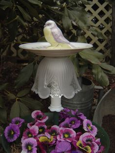 Yellow and Lavender Bird Feeder Garden Whimsy Totem Yard Garden Art Repurposed Plate Glass China
