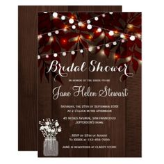 #bridal - #Twinkle lights rustic fall leaves bridal shower card