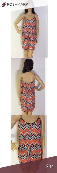 "SZ XL BEBOP AZTEC PRINT SHORTS ROMPER Pretty romper with adjustable straps and a soft rayon material.  Coral/Navy/White. Measurements lying flat Armpit to armpit 18.5"" approximate length 33"". BeBop Pants Jumpsuits & Rompers"