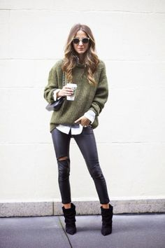 Torn black skinny jeans, black ankle boot, slouchy sweater layered over a button up. Fall or winter style