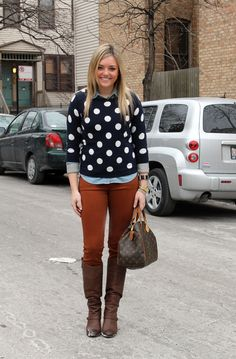 Camel pants + ch,bray and polka sweater
