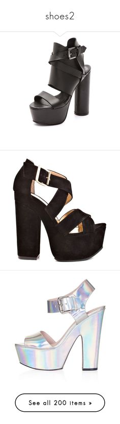 """""""shoes2"""" by kika-acosta ❤ liked on Polyvore featuring shoes, sandals, heels, footwear, black, chunky platform sandals, chunky-heel sandals, black leather shoes, platform heel sandals and black platform shoes"""