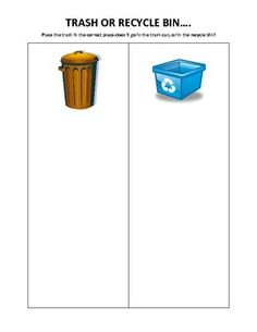 Sorting Activity for kids to decide if items should go in the trash, or in the recycle bin..Print Activity on Cardstock