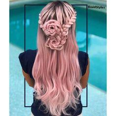 شینیون بافت نیم باز گل رز و بافت فرانسوی یطرفه Single Braids Hairstyles, Shaved Side Hairstyles, Ethnic Hairstyles, Braided Hairstyles For Wedding, Elegant Hairstyles, Cool Hairstyles, Hairstyles 2018, Braided Updo, Up Dos