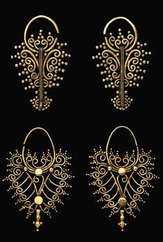 Indonesia ~ Tanimbar, Southeast Maluku   Openwork filigree earrings ~ 'kmwene' ~ gold   18th - 19th century   Source: 'Gold Jewellery of the Indonesian Archipelago', page 76