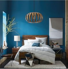 Master suite - love the paint color with the wood contrast  Bosporus Sherwin Williams paint & Bentwood pendant in Acorn