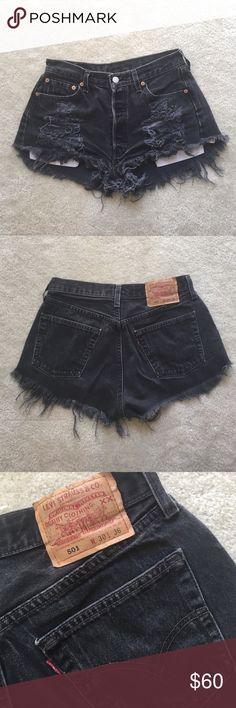 Levi's high waisted denim shorts. Fits 25 waist Levi's high waisted denim shorts. Fits 25 waist Levi's Shorts Jean Shorts