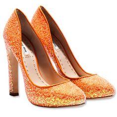 Orange sparkle heels