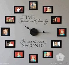Family wall clock  I actually made one of these for my friend for Christmas last year and they loved it!