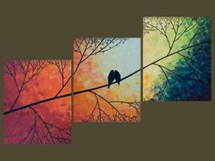 "Rainbow color art 48"" Acrylic landscape painting Birds on tree branch wall art…"