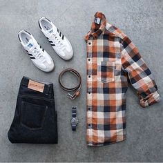 Outfit grid - Checked shirt..  lose the jeans, add some flex Chinos...