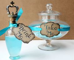 "Alice in Wonderland Wedding ""Drink Me"" Party Tags- Kraft/Turquoise."