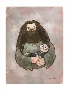 """""""Big Fellow Holding Little Fellow"""" - very funny Harry Potter print by Scott C - available via Gallery Nucleus"""