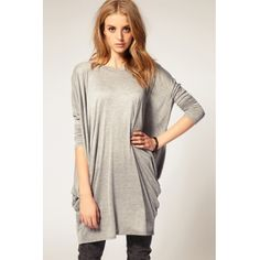 AUD13.52Fashion Woman O Neck Half Sleeve Solid Grey Polyester Batwing Loose Long Cotton T-shirt