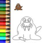 Das Walross - eine von vielen kostenlosen Malvorlagen auf http://babyduda.com/ausmal-vorlagen-lustige-tiere-im-zoo/