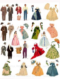 Gone with the Wind Printable Paper Dolls Hollywood Movie Memorabilia Scarlet O'Hara Rhett Butler Digital Download Scrapbooking Collage