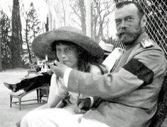 Tsar Nicholas II allows his daughter, the Grand Duchess Anastasia, to smoke