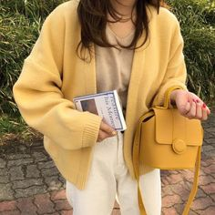 yellow pastel cardigan boogzel apparel, Mango Mousse Cardigan, aesthetic outfit, aesthetic clothes, grunge outfit Source by jleconteberlin outfit Fashion Mode, Aesthetic Fashion, Aesthetic Clothes, Look Fashion, Aesthetic Outfit, Street Fashion, Aesthetic Gif, Aesthetic Grunge, Korean Aesthetic