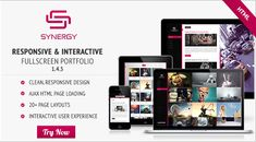 Synergy is a responsive & interactive fullscreen portfolio for artists, photographers, media agencies, restaurants and for everyone that wants to showcase their portfolio in a professional way.