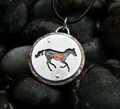 Galloping Horse sterling silver copper hand by justplainsimple, $43.00