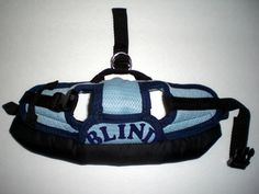 """(S) - BUMPER HAT (Protective Padded Headgear for Blind Dogs).  This specialty padded headgear has a removable protective padded casing that extends 1-1/2"""" beyond the hat brim; has a sturdy 3/4"""" snap release buckle; and has 3/4"""" blue 'BLIND' letters across the top flap;  Also, has a back strap assembly that secures onto collar to keep headgear in place.  For more information on our BUMPER HAT specialty padded headgear, please visit www.missionpawsable.weebly.com."""