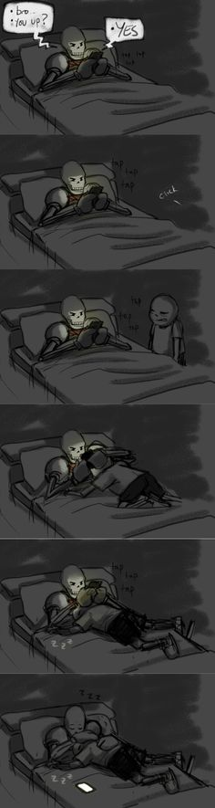 Papyrus and Sans - comic - http://jenniferstolzer.tumblr.com/post/133641363621/i-think-my-brother-is-lonely